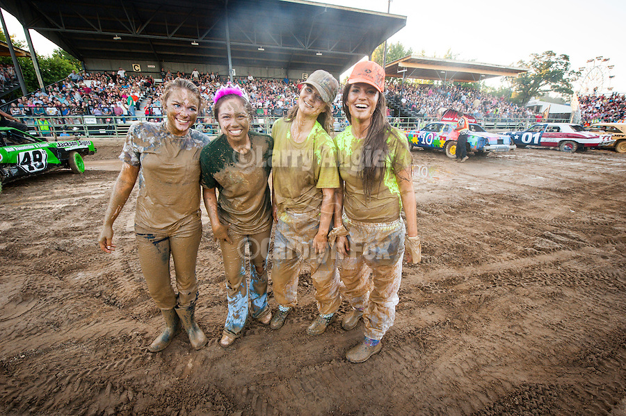74th Amador County Fair, Plymouth, Calif...Miss Amador mud dive at the Destruction Derby after the best looking car contest