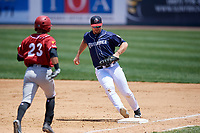 Binghamton Rumble Ponies first baseman Peter Alonso (16) runs to tag first base as Jason Martin (23) runs up the first base line during a game against the Altoona Curve on June 14, 2018 at NYSEG Stadium in Binghamton, New York.  Altoona defeated Binghamton 9-2.  (Mike Janes/Four Seam Images)