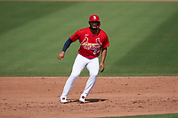 St. Louis Cardinals José Rondón (64) leads off during a Major League Spring Training game against the Houston Astros on March 20, 2021 at Roger Dean Stadium in Jupiter, Florida.  (Mike Janes/Four Seam Images)