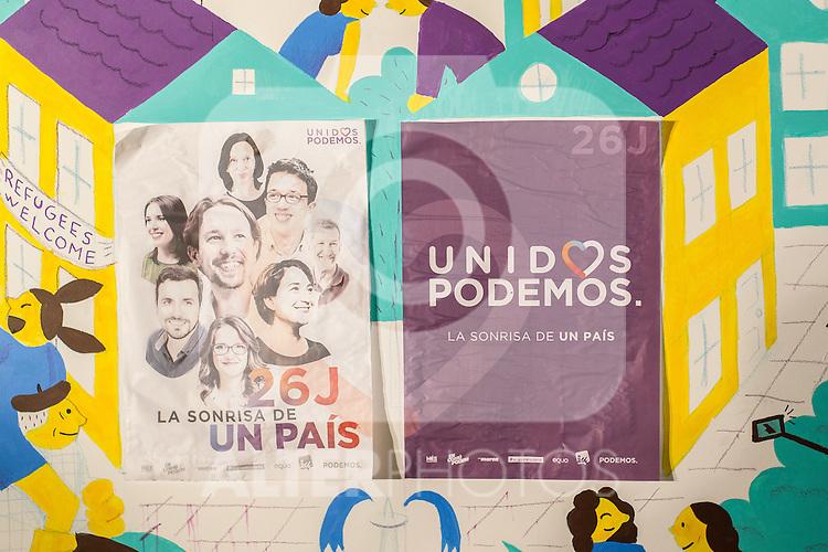 Posters of the start of the electoral campaign of Unidos Podemos. Jun 09,2016. (ALTERPHOTOS/Rodrigo Jimenez)