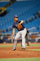 Eleardo Cabrera (15) delivers a pitch during the Tampa Bay Rays Instructional League Intrasquad World Series game on October 3, 2018 at the Tropicana Field in St. Petersburg, Florida.  (Mike Janes/Four Seam Images)
