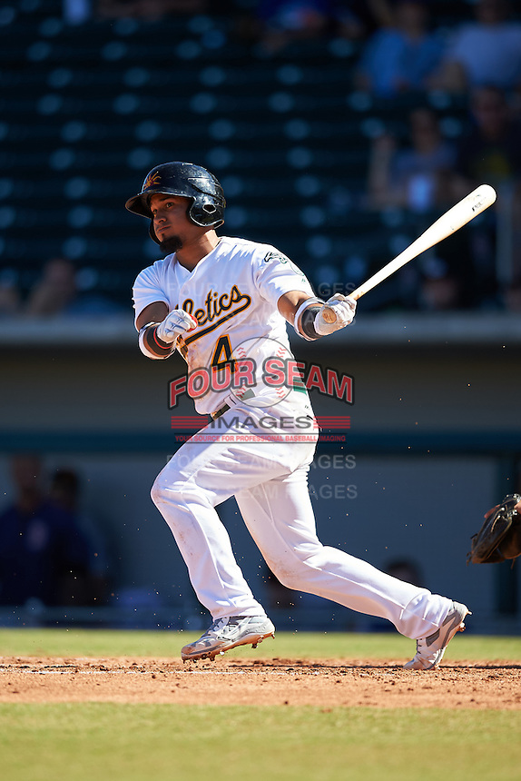 Mesa Solar Sox Franklin Barreto (4), of the Oakland Athletics organization, during a game against the Surprise Saguaros on October 14, 2016 at Sloan Park in Mesa, Arizona.  Mesa defeated Surprise 10-4.  (Mike Janes/Four Seam Images)
