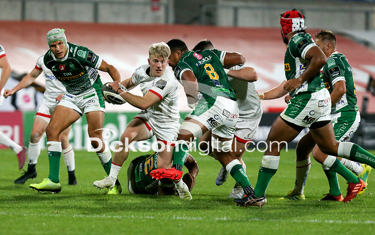 Friday 2nd October 2020 | Ulster Rugby vs Benetton Rugby<br /> <br /> Rob Lyttle is tackled by Epalahame Faiva during the PRO14 Round 1 clash between Ulster Rugby and Benetton Rugby at Kingspan Stadium, Ravenhill Park, Belfast, Northern Ireland. Photo by John Dickson / Dicksondigital