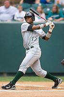 Third baseman Burt Reynolds (17) of the Princeton Rays follows through on his swing at Calfee Field in Pulaski, VA, Sunday July 6, 2008. (Photo by Brian Westerholt / Four Seam Images)