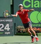 March 28 2017: Kei Nishikori (JPN) defeats Frederico Delbonis (ARG) by 6-3, 4-6, 6-3 at the Miami Open being played at Crandon Park Tennis Center in Miami, Key Biscayne, Florida. ©Karla Kinne/Tennisclix/Cal Sports Media
