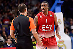 EA7 Emporio Armani Milan's Jamel Mclean talking with the referee during Turkish Airlines Euroleage match between Real Madrid and EA7 Emporio Armani Milan at Wizink Center in Madrid, Spain. January 27, 2017. (ALTERPHOTOS/BorjaB.Hojas)