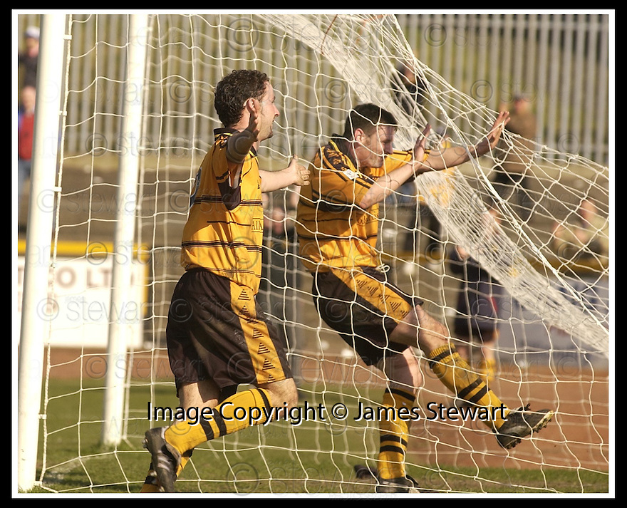 06/04/2002                 Copyright Pic : James Stewart .Ref :     .File Name : stewart-alloa v qos   05.ROSS HAMILTON CELEBRATES AFTER SCORING ALLOA'S THIRD GOAL AS TEAM MATE GARETH HUTCHISON CELEBRATES IN THE GOAL..James Stewart Photo Agency, 19 Carronlea Drive, Falkirk. FK2 8DN      Vat Reg No. 607 6932 25.Office     : +44 (0)1324 570906     .Mobile  : + 44 (0)7721 416997.Fax         :  +44 (0)1324 630007.E-mail  :  jim@jspa.co.uk.If you require further information then contact Jim Stewart on any of the numbers above.........