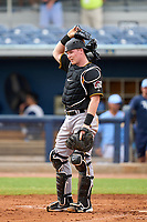 FCL Pirates Black Henry Davis (32) in the bottom of the third inning during a game against the FCL Rays on August 3, 2021 at Charlotte Sports Park in Port Charlotte, Florida.  Davis was making his professional debut after being selected first overall in the MLB Draft out of Louisville by the Pittsburgh Pirates.  (Mike Janes/Four Seam Images)