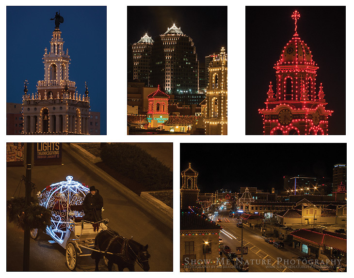 """Boxed set of 10 Plaza Christmas Lights (Kansas City, MO) note cards (folded, blank inside), 2 of each of the pictured images, and 10 blank, white envelopes. To purchase, click on image until a """"Buy"""" button appears above the image."""