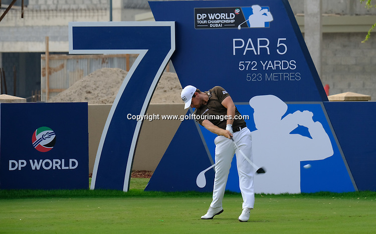 Tyrrell HATTON (ENG) during round three of the 2016 DP World Tour Championships played over the Earth Course at Jumeirah Golf Estates, Dubai, UAE: Picture Stuart Adams, www.golftourimages.com: 11/19/16