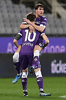 Dusan Vlahovic of ACF Fiorentina celebrates with Gaetano Castrovilli after scoring a goal during the Serie A football match between ACF Fiorentina and Spezia Calcio at Artemio Franchi stadium in Firenze (Italy), February 19, 2021. Photo Image Sport / Insidefoto