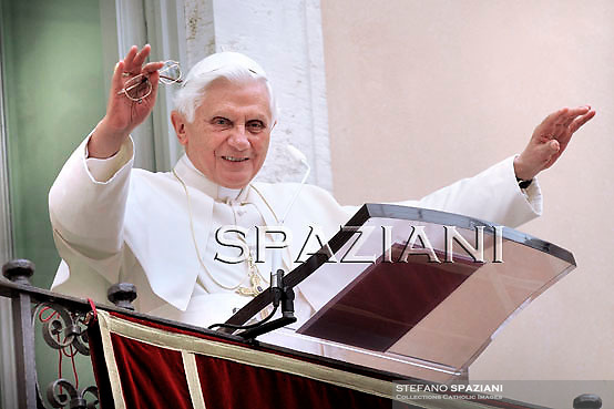 Pope Benedict XVI leads his Angelus prayer at his summer residence in Castelgandolfo, south of Rome, 25 July 2010.