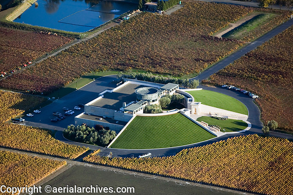 aerial photograph of the Opus One Winery, a joint venture between Mondavi and Rothschild, in fall, Oakville,  Napa county, California