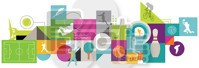 Illustrative image of collage representing various types of sports