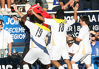 Players of the University of Akron pour the ice bucket over coach Porter during the 2010 College Cup final against the University of Louisville at Harder Stadium, on December 12 2010, in Santa Barbara, California. Akron champions, 1-0.