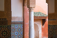 Building detail of the Saadian Tombs in Marrakech, Morocco