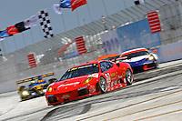 4-5 April 2008, St Petersburg, Florida, USA.The #62 Risi Ferrari races into turn one..©2008 F.Peirce Williams, USA .