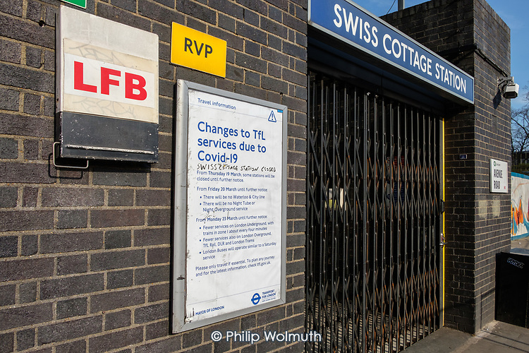 Swiss Cottage underground station, one of many tube stops closed due to Covid-19 pandemic.