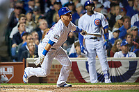 Chicago Cubs Willson Contreras (40) bats in the fourth inning during Game 3 of the Major League Baseball World Series against the Cleveland Indians on October 28, 2016 at Wrigley Field in Chicago, Illinois.  (Mike Janes/Four Seam Images)