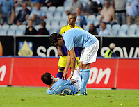 Thursday 08 August 2013<br /> Pictured: Ricardihno of Malmo injured on the ground<br /> Re: Malmo FF v Swansea City FC, UEFA Europa League 3rd Qualifying Round, Second Leg, at the Swedbank Stadium, Malmo, Sweden.