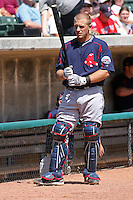 Tim Federowicz #18 of the Salem Red Sox in front of the dugout before a game against the Myrtle Beach Pelicans on May 16, 2010 at BB&T Coastal Field in Myrtle Beach, SC.