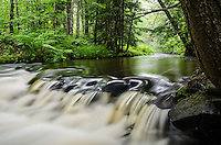 A small drop in the Rock River creating a dramatic look of smooth flowing water in a lush green forest. Chatham, MI