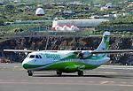 Spain, Canary Islands, La Palma, airport of La Palma, propeller plane of Binter Air, perfect for island hopping