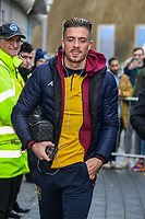 Jack Grealish of Aston Villa (10) arriving of the bus at the Premier League match between Brighton and Hove Albion and Aston Villa at the American Express Community Stadium, Brighton and Hove, England on 18 January 2020. Photo by Edward Thomas / PRiME Media Images.