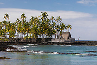 Pu'uhonua o Honaunau, an historic place of refuge and also a national historical park, seen from the ocean, south Kona, Big Island of Hawai'i.