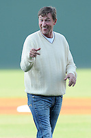 National Hockey League legend Wayne Gretzky, in town for the BWM Charity Pro-Am golf tournament, threw out the first pitch before a game between the Greenville Drive and Charleston RiverDogs on Thursday, May 16, 2013, at Fluor Field at the West End in Greenville, South Carolina. (Tom Priddy/Four Seam Images)
