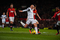 Saturday 11 January 2014 Pictured: \s8 takes a shot at goal<br /> Re: Barclays Premier League Manchester Utd v Swansea City FC  at Old Trafford, Manchester