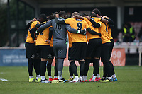 Maidstone players huddle during Hornchurch vs Maidstone United, Buildbase FA Trophy Football at Hornchurch Stadium on 6th February 2021