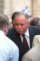 June 2003 File Photo - Jacques Parizeau former Premier of  Quebec Province.<br />  Photo by Pierre RousselJacques Parizeau,<br /> <br /> former Premier of Quebec Province and leader of the Parti Quebecois. - <br /> <br /> Ancien premier Ministre du Québec et chef du PQ<br /> <br /> <br /> photo : (c)  Images Distribution
