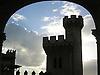 Silhoette of one of the towers of the Almudaina Palace in light of dawn seen through an arch<br /> <br /> Silueta de una de las torres del Palacio de Almudaina en luz de anochecer vista desde un arco<br /> <br /> Silhouette einer der Türme des Almudaina Palastes im Abendlicht durch einen Rundbogen gesehen<br /> <br /> 2480 x 1859 px