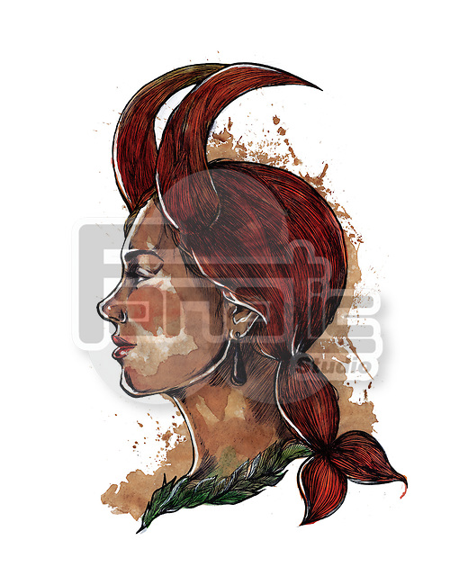 Illustration of woman with hair shaped as goat's horns representing Capricorn zodiac sign