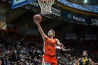 VALENCIA, SPAIN - APRIL 24: Jon Stefanson during ENDESA LEAGUE match between Valencia Basket Club and Iberostar Gran Canaria at Fonteta Stadium on April, 2016 in Valencia, Spain