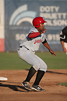 Bryan Lizardo (26) of the Vancouver Canadians leads off of second base during a game against the Salem-Keizer Volcanoes at Volcanoes Stadium on July 24, 2017 in Keizer, Oregon. Salem-Keizer defeated Vancouver, 4-3. (Larry Goren/Four Seam Images)