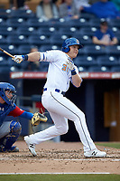 Joe McCarthy (31) of the Durham Bulls follows through on his swing against the Buffalo Bison at Durham Bulls Athletic Park on April 25, 2018 in Allentown, Pennsylvania.  The Bison defeated the Bulls 5-2.  (Brian Westerholt/Four Seam Images)