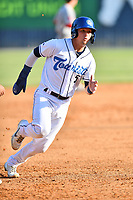 Asheville Tourists Korey Lee (5) runs to third base during a game against the Greenville Drive on May 21, 2021 at McCormick Field in Asheville, NC. (Tony Farlow/Four Seam Images)