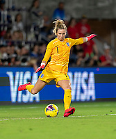 ORLANDO, FL - MARCH 05: Carly Telford #1 of England punts the ball during a game between England and USWNT at Exploria Stadium on March 05, 2020 in Orlando, Florida.