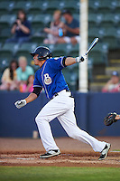 Biloxi Shuckers outfielder Tyrone Taylor (15) at bat during a game against the Birmingham Barons on May 23, 2015 at Joe Davis Stadium in Huntsville, Alabama.  Birmingham defeated Biloxi 2-0 as the Shuckers are playing all games on the road, or neutral sites like their former home in Huntsville, until the teams new stadium is completed in early June.  (Mike Janes/Four Seam Images)