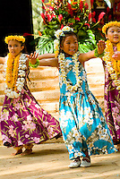 Hula dancers perform at Kapiolani park bandstand on May day, also known in Hawaii as lei day
