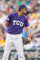 TCU Horned Frogs pitcher Michael Traver (33) looks to his catcher for the sign against the LSU Tigers in Game 10 of the NCAA College World Series on June 18, 2015 at TD Ameritrade Park in Omaha, Nebraska. TCU defeated the Tigers 8-4, eliminating LSU from the tournament. (Andrew Woolley/Four Seam Images)