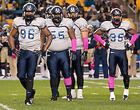 Old Dominion defensive players Terrell Reid (96),Chris Smith (55) and Anthony Wilson (35). The Pitt Panthers defeated the Old Dominion Monarchs 35-24 at Heinz Field, Pittsburgh, Pennsylvania on October 19, 2013.