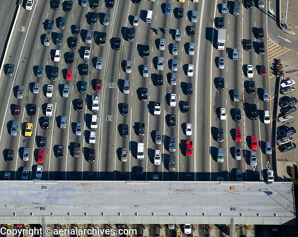 aerial photograph of traffic approaching toll plaza San Francisco Oakland Bay Bridge, Oakland, California