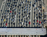 aerial photograph of traffic approaching toll plaza San Francisco Oakland Bay Bridge, Oakland, California
