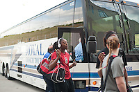 FRESNO, CA--Chiney Ogwumike dances to her own beat after arriving to the arena before taking on Duke at the Save Mart Center for the West Regionals Championship of the 2012 NCAA Championships.