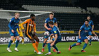 Hull City's Hakeeb Adelakun battles with Grimsby Town's Max Wright and Luke Spokes<br /> <br /> Photographer Alex Dodd/CameraSport<br /> <br /> EFL Papa John's Trophy - Northern Section - Group H - Hull City v Grimsby Town - Tuesday 17th November 2020 - KCOM Stadium - Kingston upon Hull<br />  <br /> World Copyright © 2020 CameraSport. All rights reserved. 43 Linden Ave. Countesthorpe. Leicester. England. LE8 5PG - Tel: +44 (0) 116 277 4147 - admin@camerasport.com - www.camerasport.com