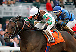 """October 03, 2015:  Fioretti and jockey Sophie Doyle win the 35th running of the Thoroughbred Club of America (Grade 2) $250,000 """"Win and You're In Filly & Mare Sprint Division"""" for trainer Anthony Hamilton Jr. and owner Two Hearts Farm.  Candice Chavez/ESW/CSM"""
