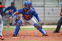 GCL Mets catcher Luis Lebron (16) waits to receive a throw during a game against the GCL Cardinals on July 23, 2017 at Roger Dean Stadium Complex in Jupiter, Florida.  GCL Cardinals defeated the GCL Mets 5-3.  (Mike Janes/Four Seam Images)